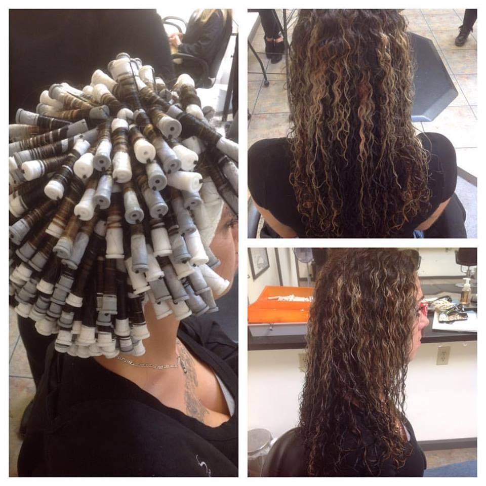 Spiral Perm On Gray And White Rods With Results Long Hair Perm Curled Hairstyles For Medium Hair Hair Rods