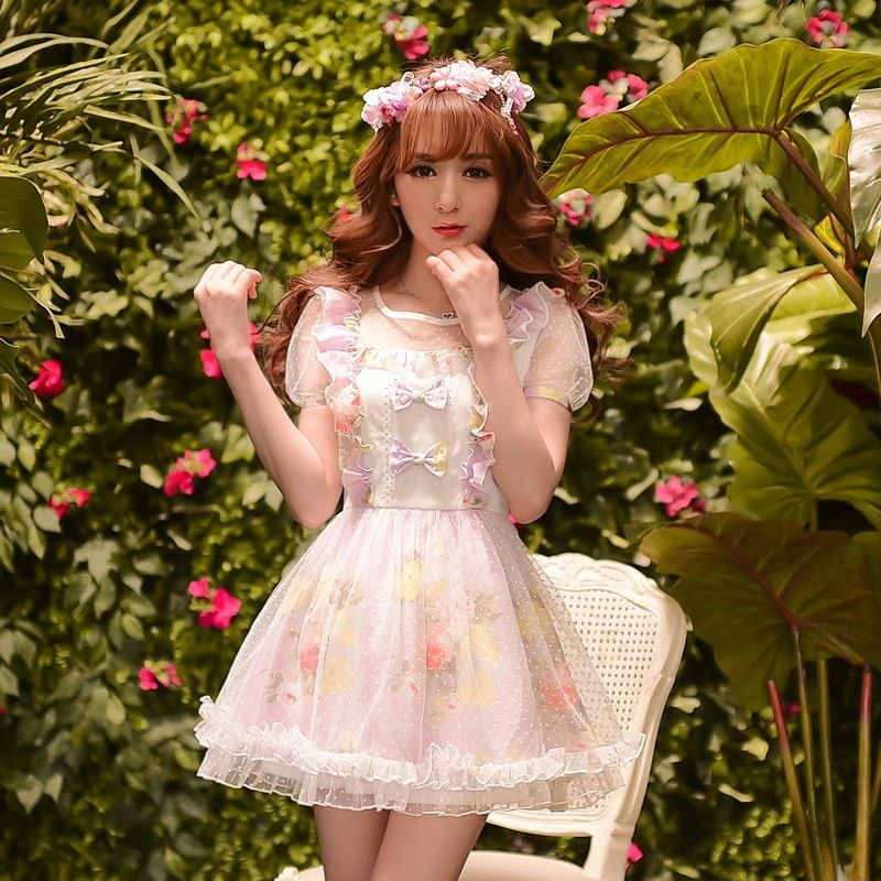 07080a67bfdf Princess sweet lolita dress Candy rain cunte Summer Japanese style falbala  Net yarn chiffon floral dress WL85-in Dresses from Women s Clothing    Accessories ...
