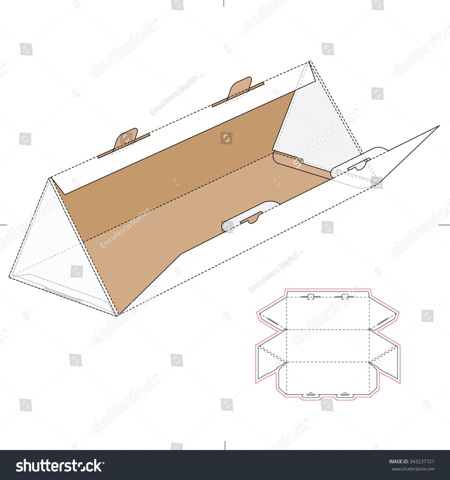 triangular box with die cut template and layout 皮包版型