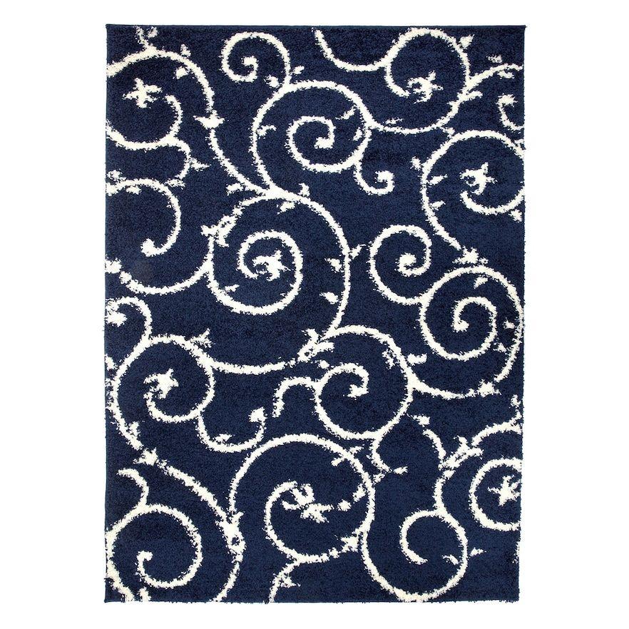 World Rug Gallery Florida Cozy Scroll Blue 2x7 Ft
