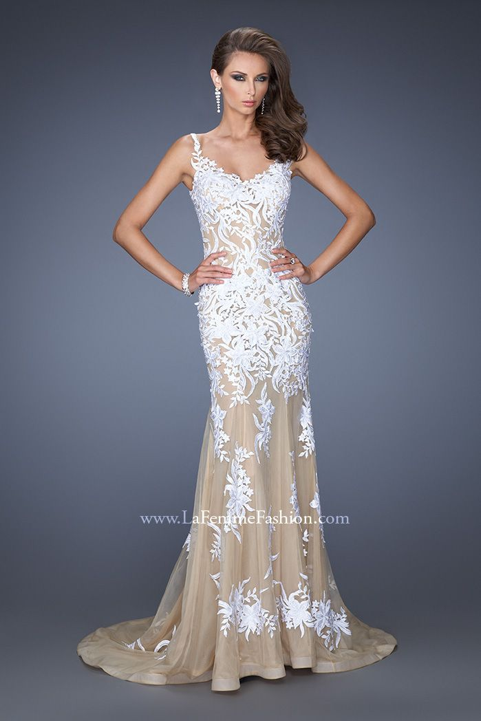 La Femme 19835 - prom dress - white and nude prom dress - white and ...