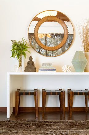 Zen entry, streamlined modern console table, asian / japanese ...