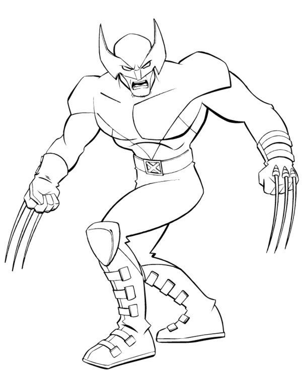Superhero X Men Wolverine Coloring Page (With images