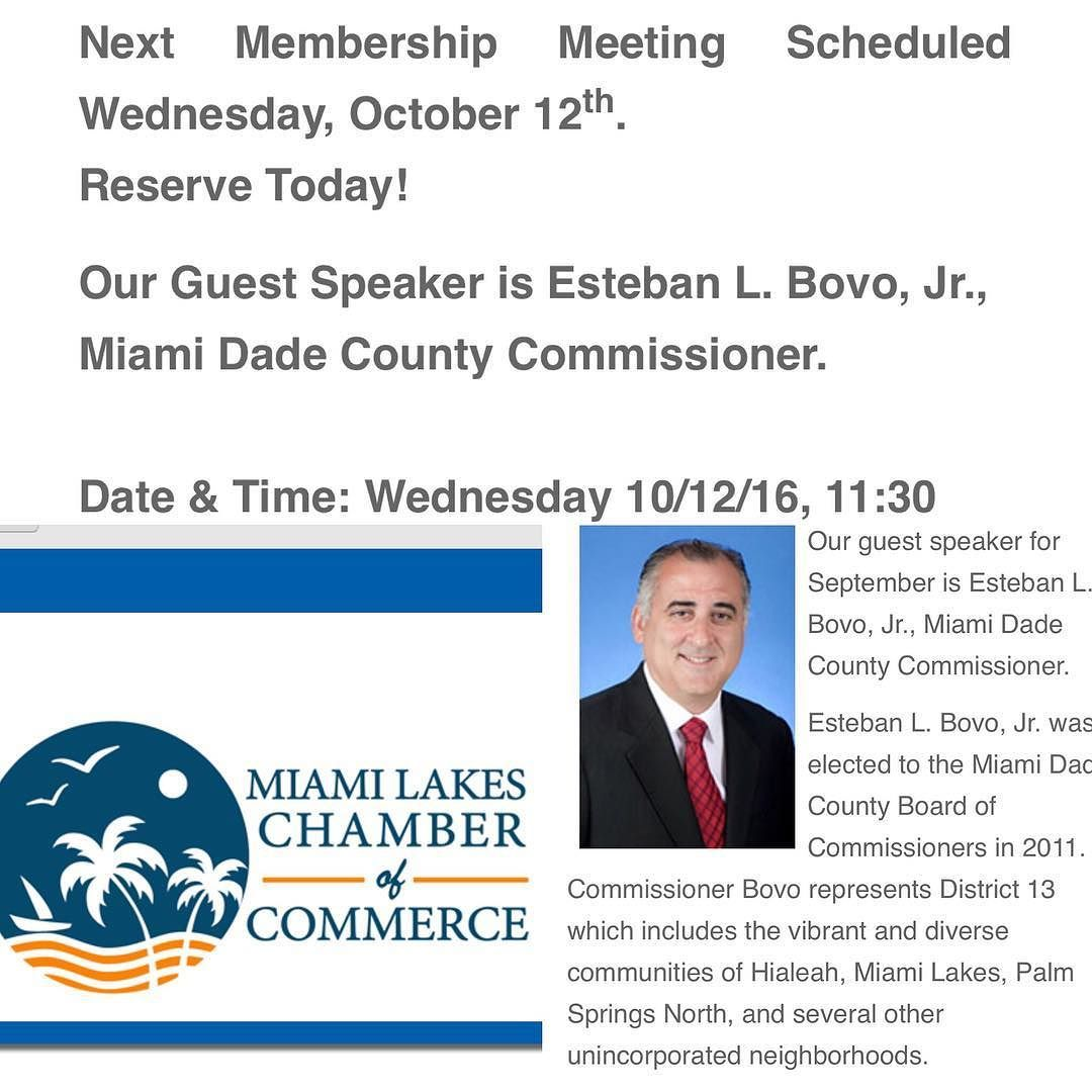 Join the Miami Lakes Chamber of Commerce this Wednesday. #DavilaLand #MiamiLakes #Commissioner #chamberofcommerce #community