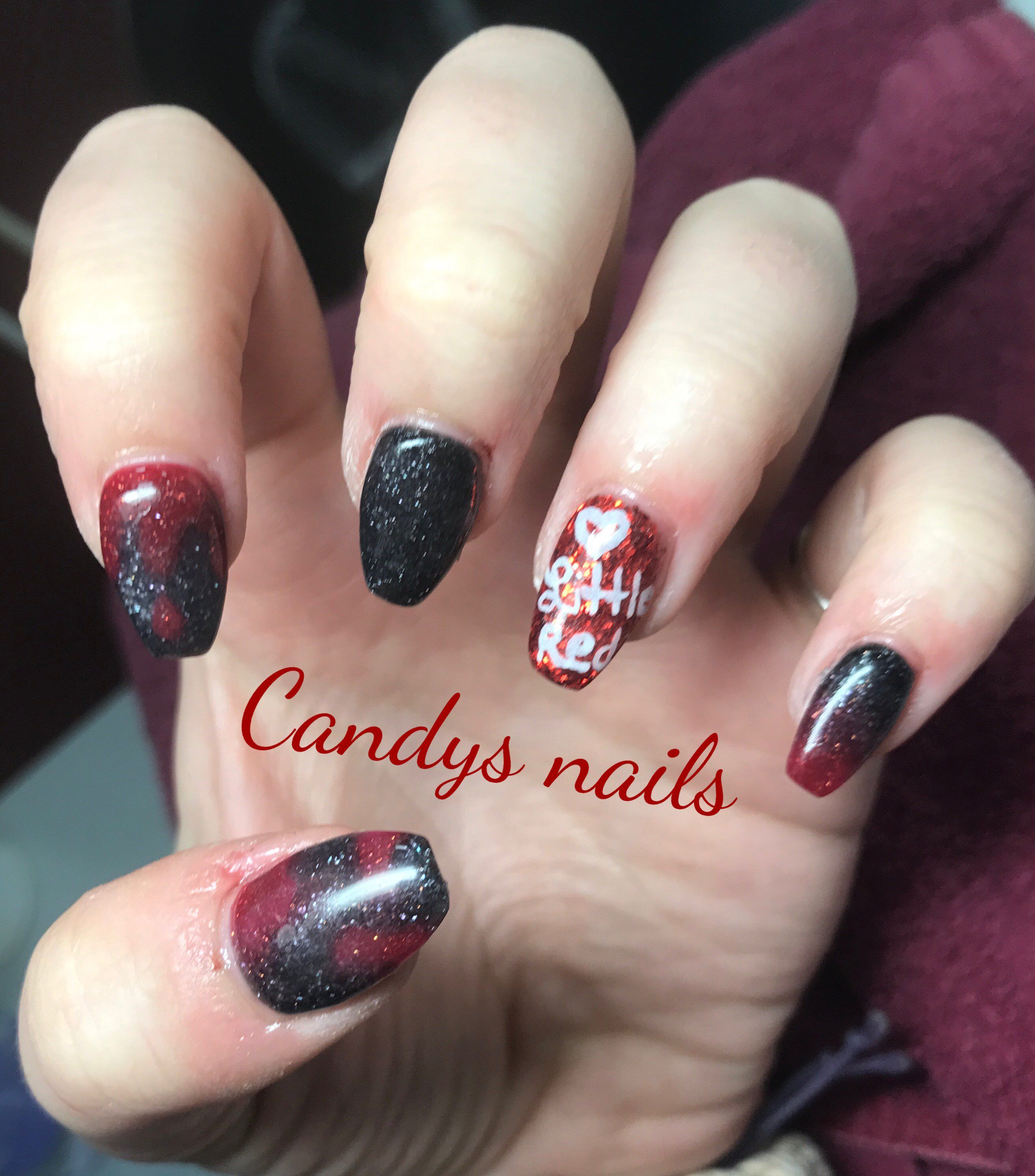 Little Red Riding Hood Design Acrylic Nails Candys Nails Pinterest