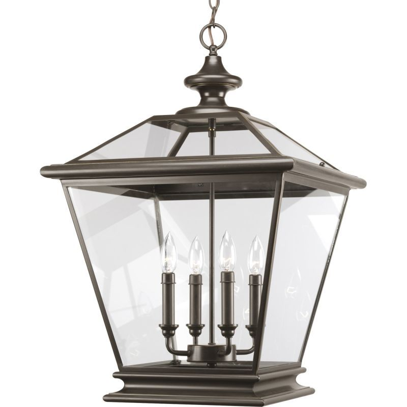 Progress Lighting P3904 Crestwood 4 Light 27 Tall Outdoor Pendant With Clear Gl Antique Bronze Pendants