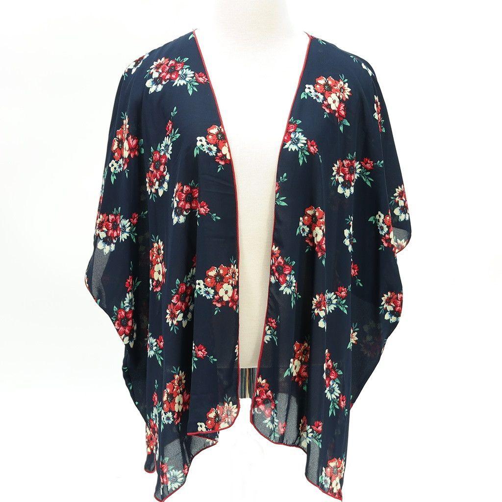 Floral print kimono chiffon cardigan navy | Chiffon cardigan and ...