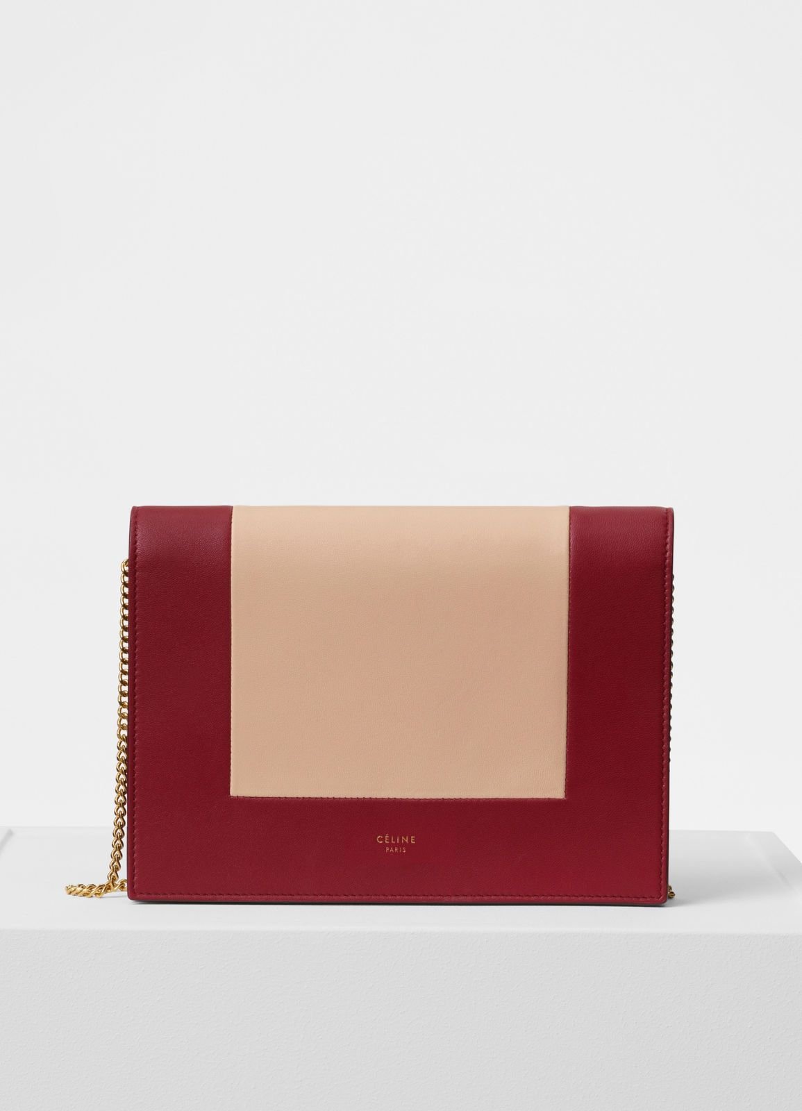 fa47b721f0 Frame evening clutch on chain in bicolour smooth lambskin