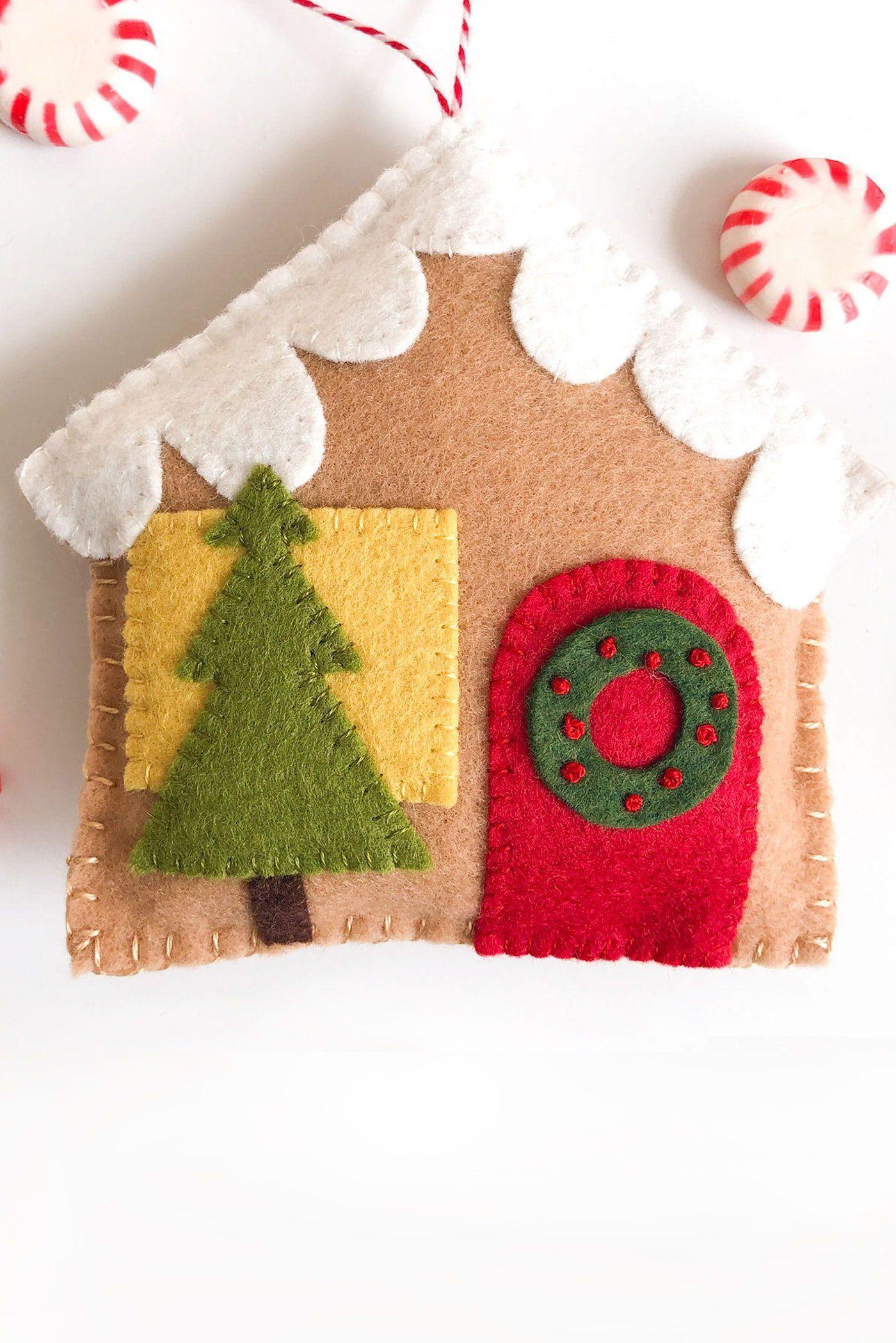 Diy Felt Gingerbread House Christmas Ornaments