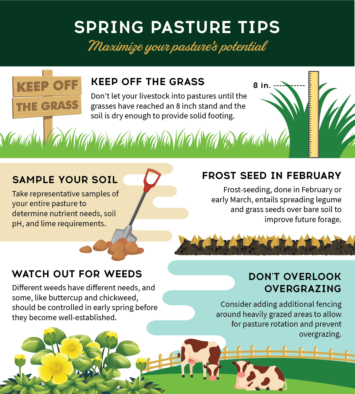 Now Is The Time To Keep A Close Eye On Your Pastures Leading Up To The Spring Season Check Out These Spring Pasture Tips And Learn In 2020 Spring Pasture Garden Soil