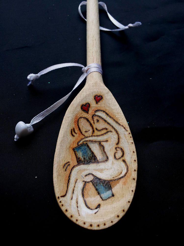 Bride groom wooden spoon with hanger wedding or