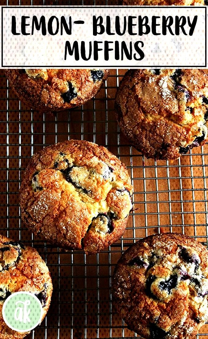 Lemon-blueberry muffins — my favorite! Sugar-crusted, lemony crumb, loaded with blueberries what
