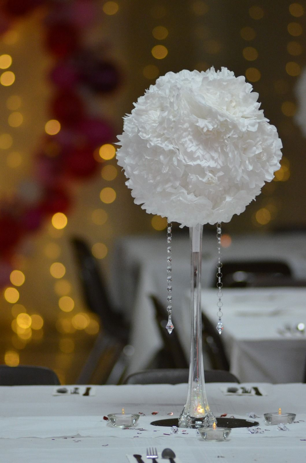Centerpiece made of coffee filter flowers with a paper