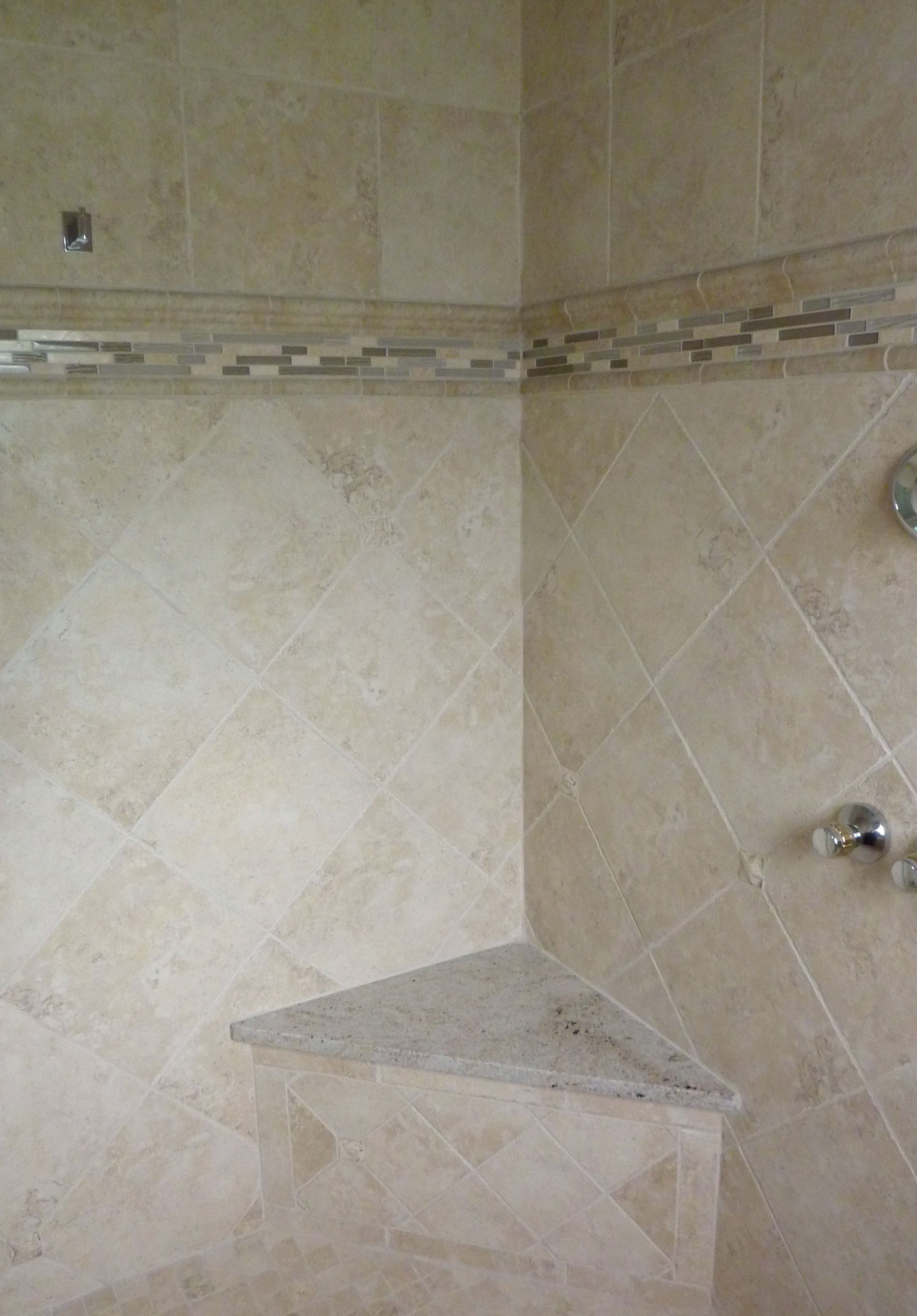 Mosaic liners art pattern mirrorred bathroom wall discount tiles - Tile Pattern Option This Is A Ceramic Tile Set On A Diagonal Below The Liner