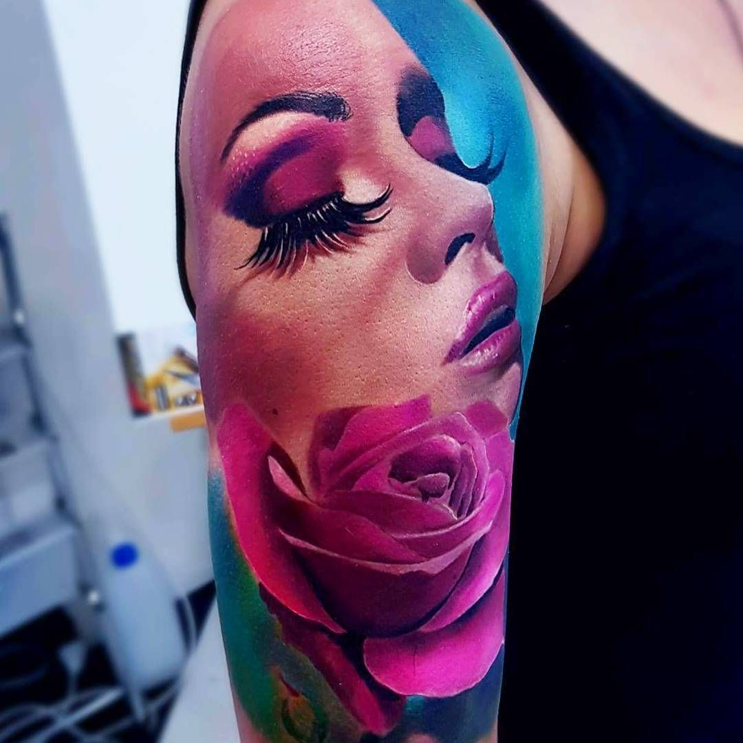 Perfect Color Tattoo Art Works Of Girl Face Motive Done By Tattoo Artist Andrzej Niuniek Misztal Face Tattoos For Women Girl Face Tattoo Maori Tattoo