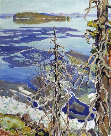 Akseli Gallen-Kallela (Finnish, 1865-1931), Jäiden Lähtö Ruovesi (Ice Breaking-up on Lake Ruovesi). Oil on canvas, 40.5 x 32.5 in.