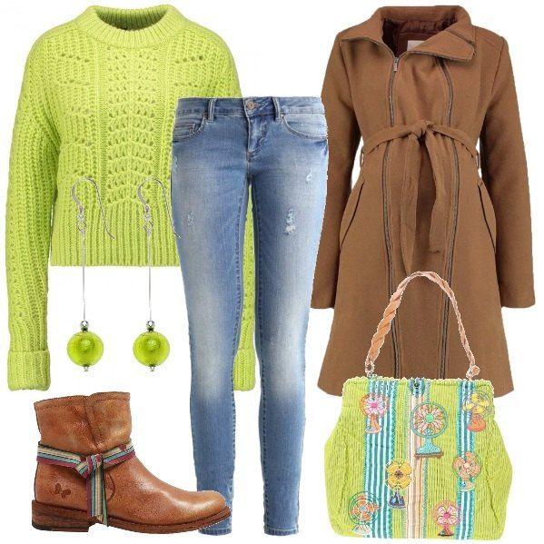 Alla Con Color Coreana Verde Jeans A Colletto Acido Maglione Corto q4ZRtt