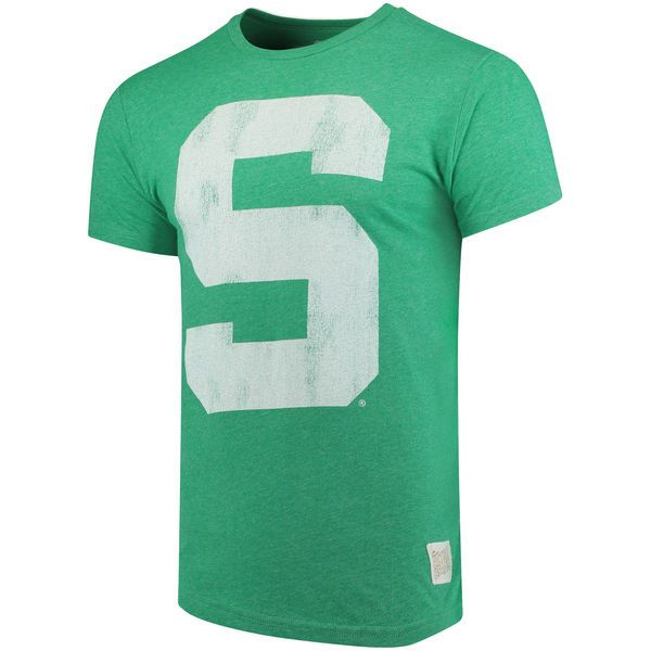 c960f0c00f5da6 Michigan State Spartans Original Retro Brand School Logo Mock Twist T-Shirt  - Green 2