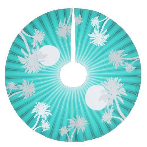 tropical turquoise palm trees christmas skirt brushed polyester tree skirt - Teal Christmas Tree Skirt
