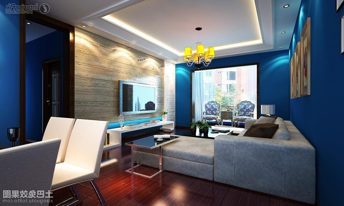 cozy style blue living room decorated with brown wooden flooring