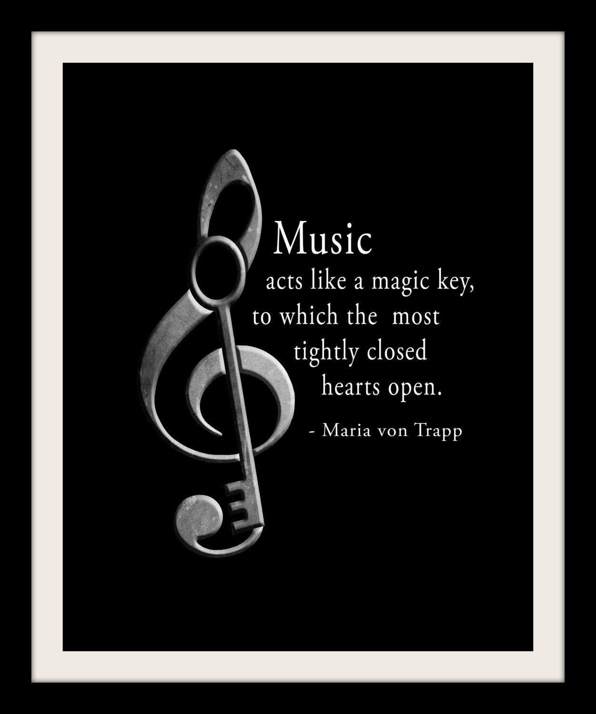 Maria von trapp music quote music piano band school teacher black and white music room wall art print