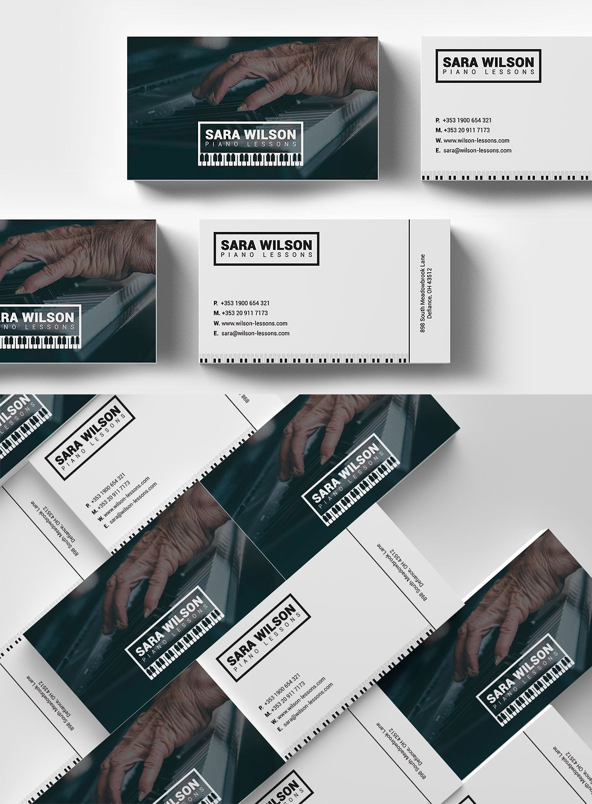 Piano Lessons Business Card Template PSD