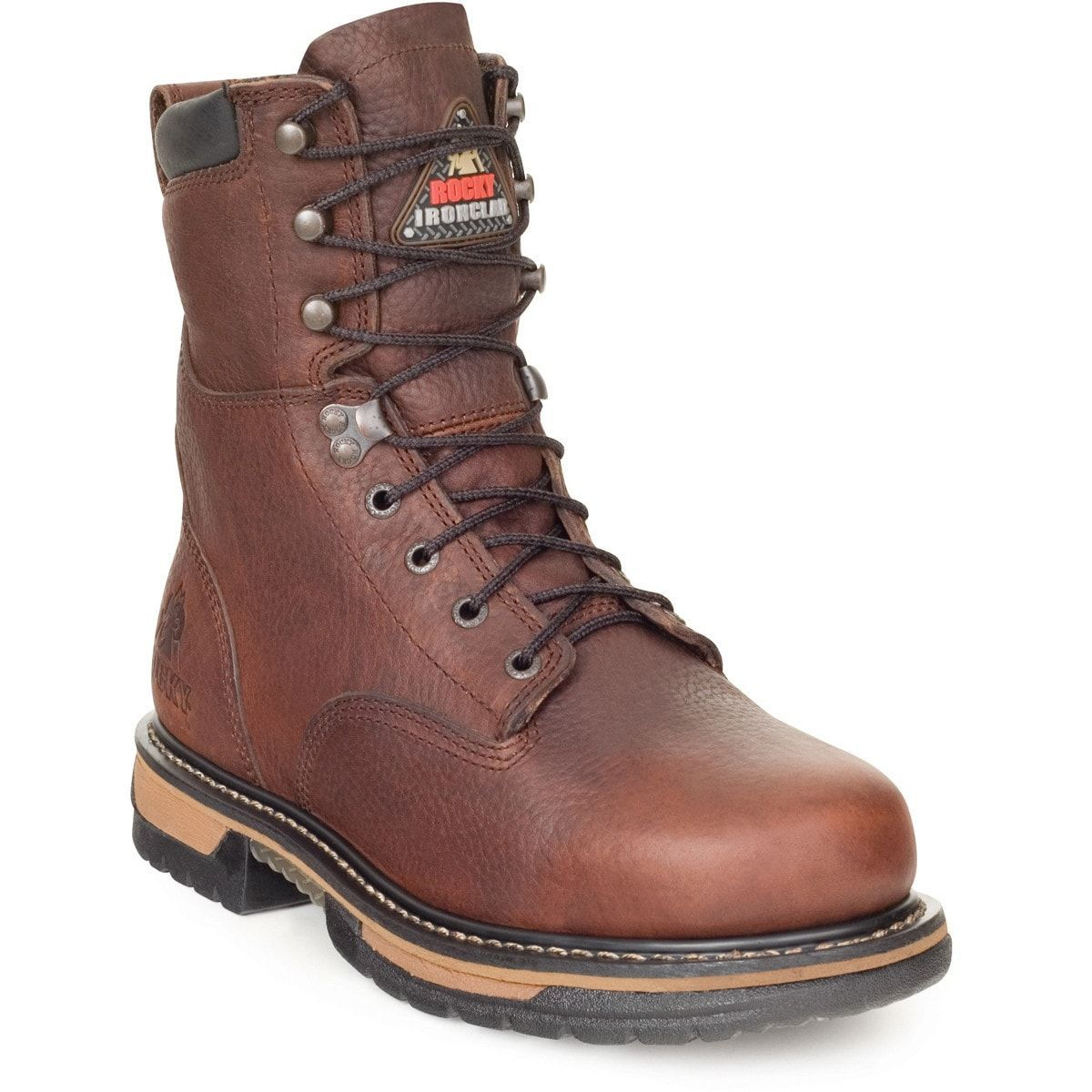 Rocky Ironclad Mens Brown Leather 8in Steel Toe Waterproof Work ...