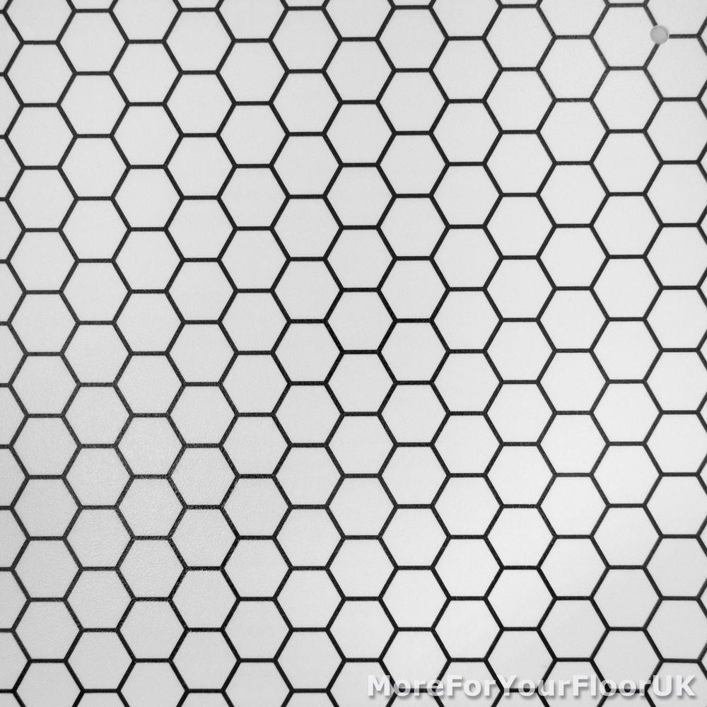 Cheap modern vinyl flooring black white hexagon vinyl for Cheap white vinyl flooring