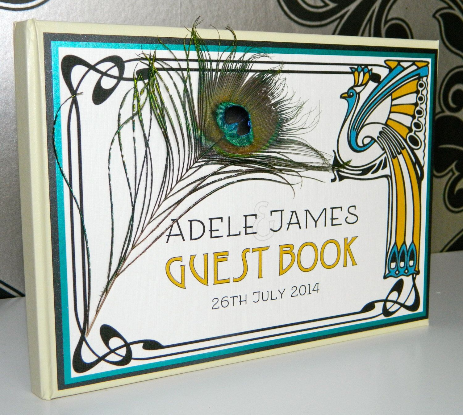 Art Nouveau   Peacock Feather   Personalised Wedding Guest Book by HandmadeByHannahMP on Etsy https://www.etsy.com/listing/207854353/art-nouveau-peacock-feather-personalised