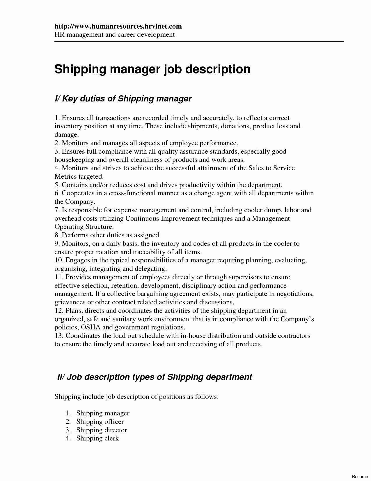 Shipping and Receiving Clerk Resume Unique 9 Shipping and