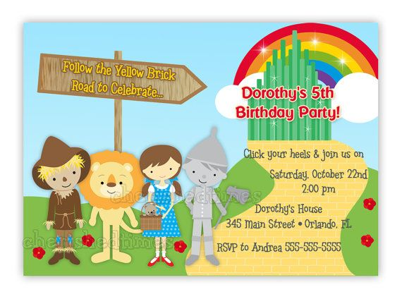 Wizard of Oz Inspired Birthday Invitation with Picture or Without