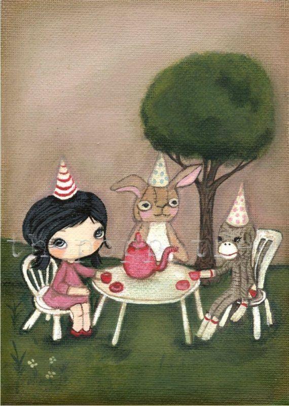 Tea Party ---Original Painting 5 x 7