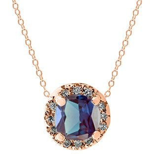 Alexandrite Gemstone Diamond Halo Pendant In Rose Gold Gemologica