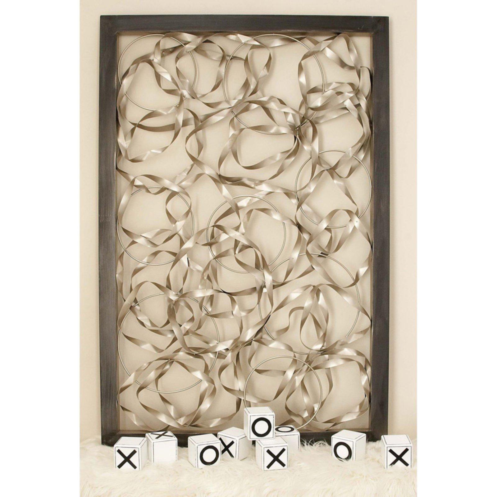 Decmode Wood Framed Silver Metal Ribbon Wall Art 60w X 40h