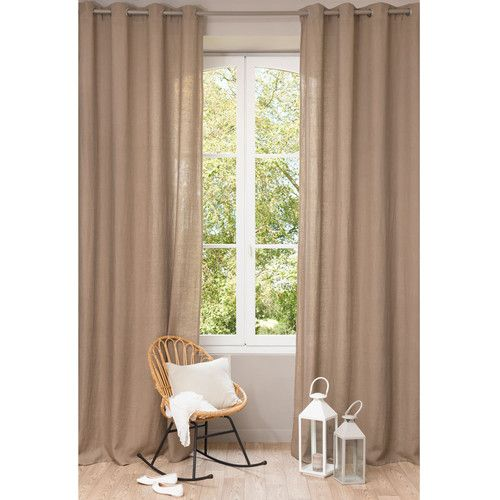 Rideau en lin lav taupe 140 x 300 cm products i love for Rideau taupe