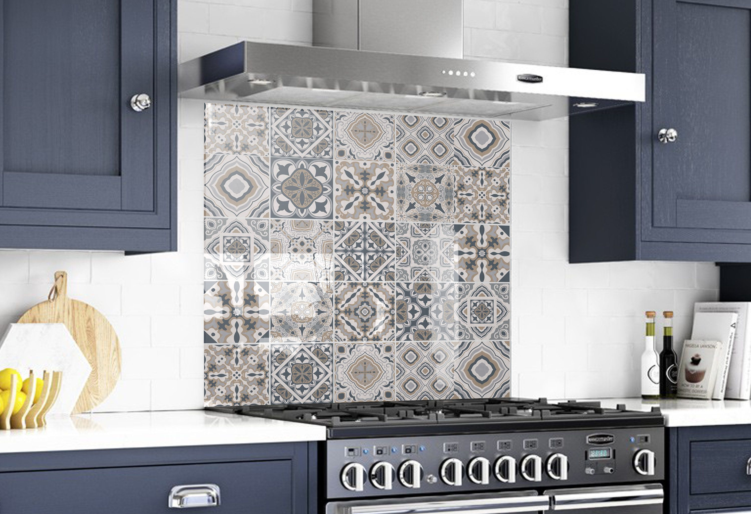 Glass Tile Kitchen Backsplash Behind The Stove Decor Solid