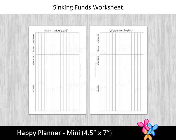 HP Mini Sinking Funds Worksheet \u2022 Budget Binder Printable Page
