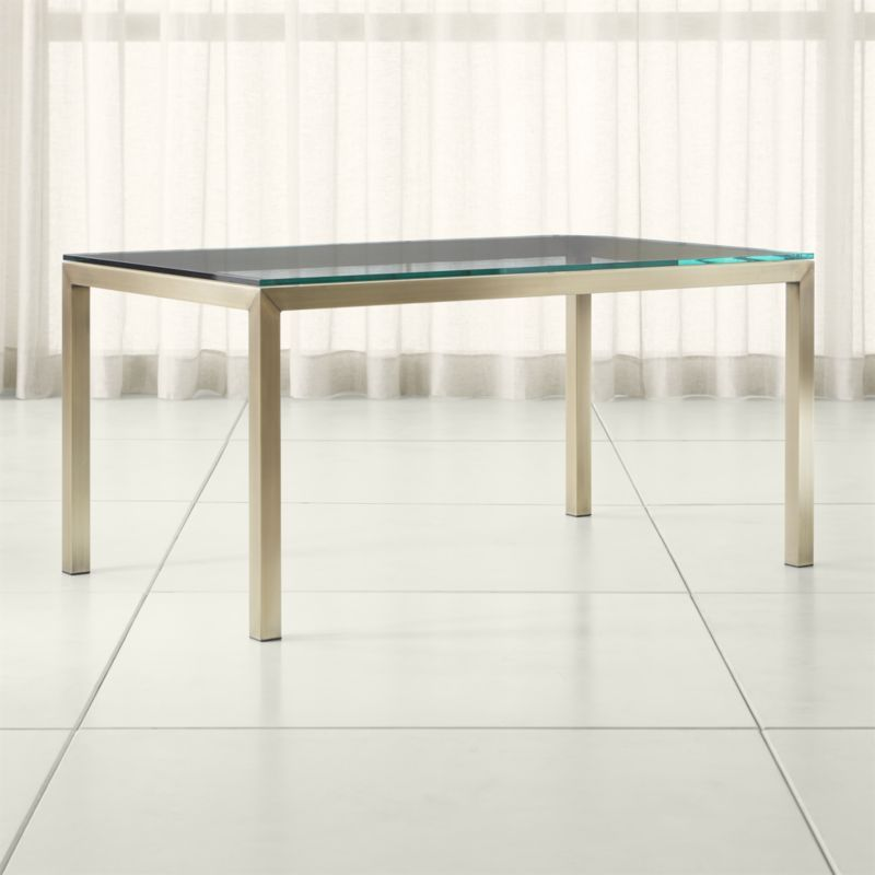 Parsons Clear Glass Top Brass Base Dining Tables Crate