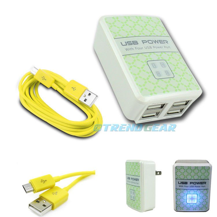 20X 4 USB PORT WALL ADAPTER10FT CABLE CHARGER YELLOW G2