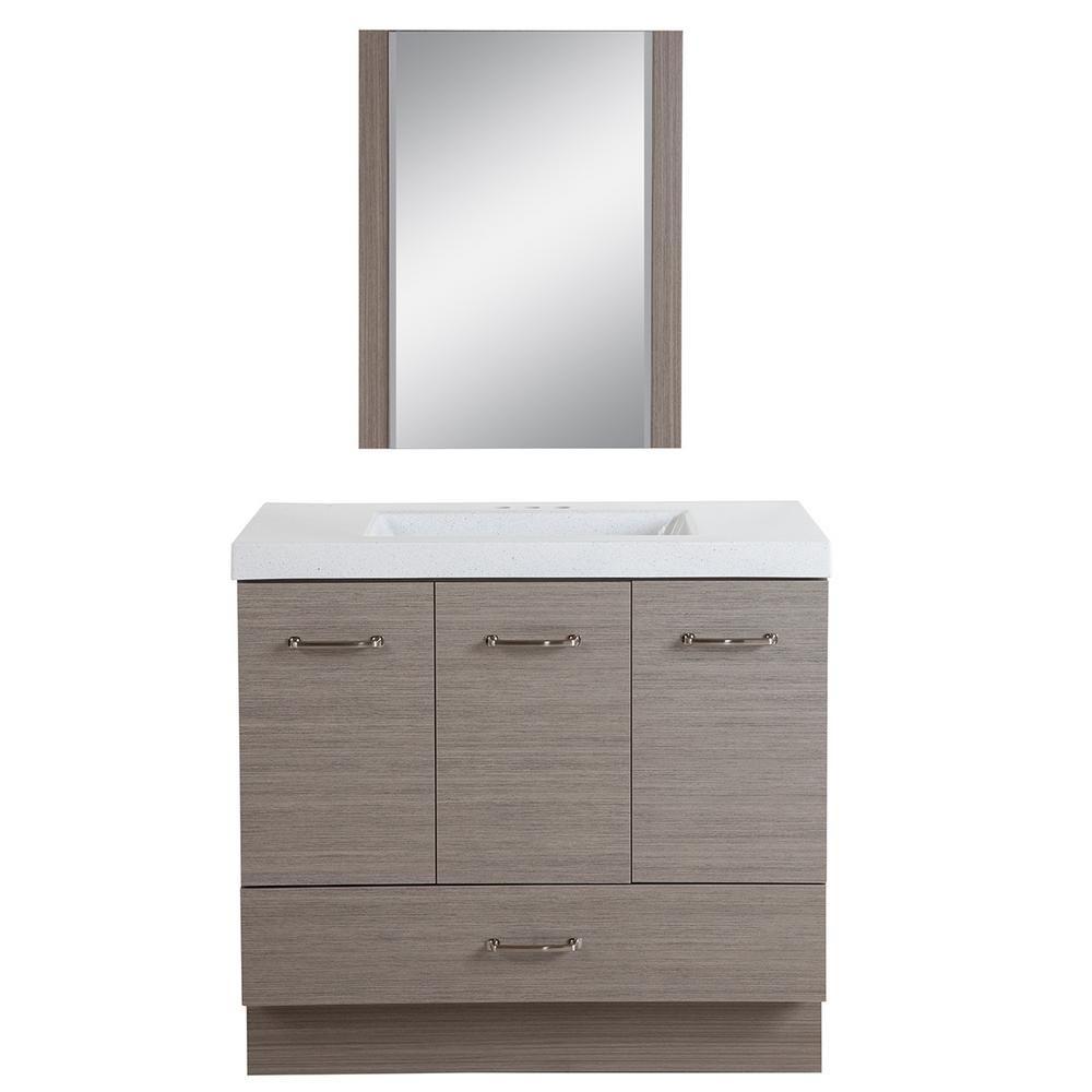 Glacier Bay Windgrove 36 5 In W Bath Vanity In Haze With Colorpoint Vanity Top In White With White Basin And Mirror Vanity Combos Vanity Bath Vanities