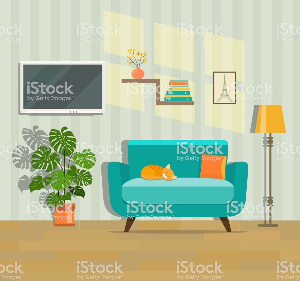 Living Room Interior Flat Style Vector Illustration Room