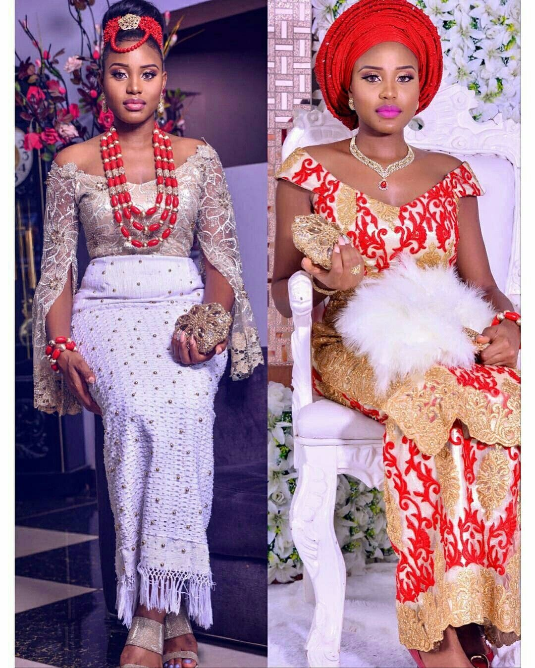 Nigerian Wedding Fashion: Close Up On @uchegermaine'a Looks At Her Wedding. A Or B
