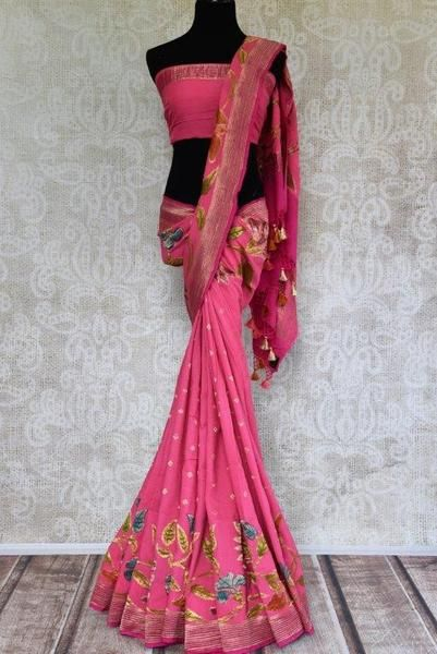 ad4150d73a Buy hot pink Muga Banarasi saree online in USA with floral zari border. Pure  Elegance store brings you exquisite woven Indian Muga Banarasi sarees online  in ...