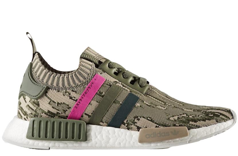 47abe8e39 Adidas NMD R1 Primeknit Glitch Camo Green Pink