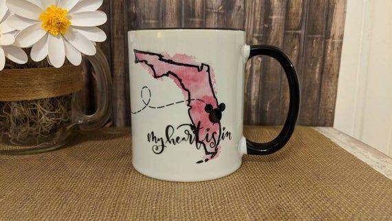My Heart is in Disney Mug, Disney Mug, Jersey Florida Mug, Long Distance Mug