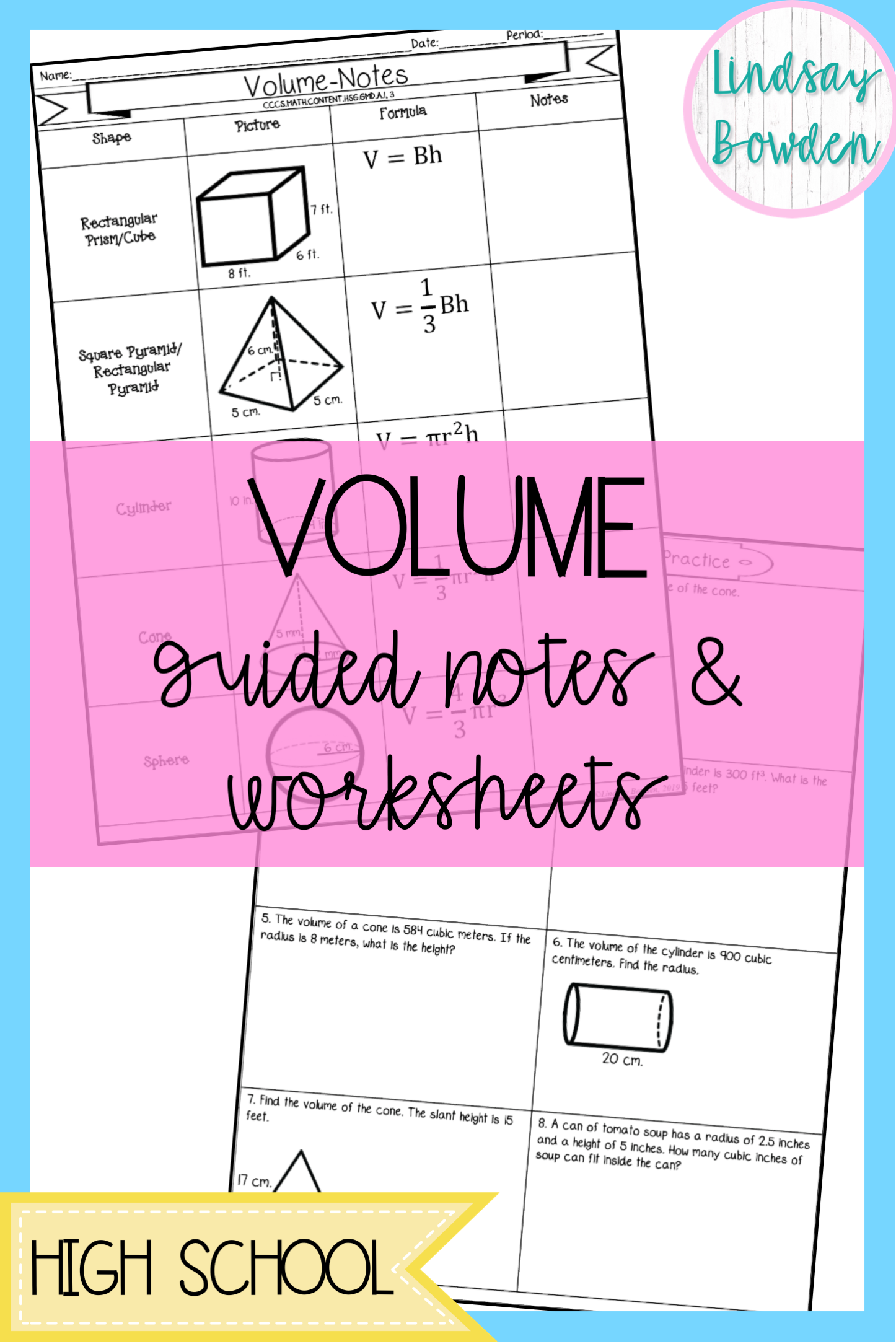 High School Geometry Volume Notes And Worksheets These Include Volume Of 3d Shapes And Cavalieri S Pr Guided Notes High School Geometry Notes Geometry Lessons [ 2169 x 1446 Pixel ]
