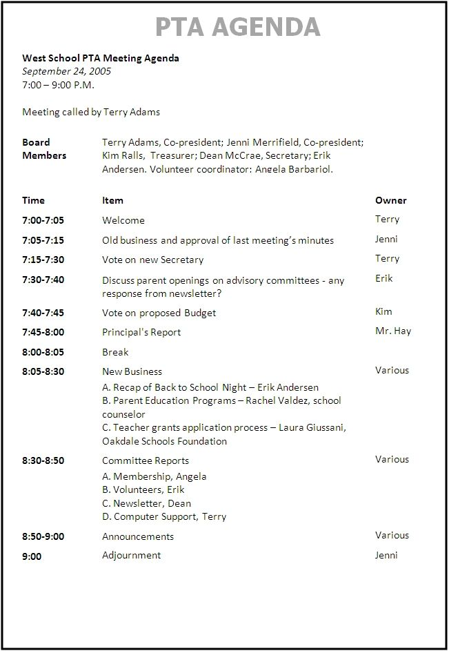sample agenda PTO Pto meeting, Pta meeting, Pta