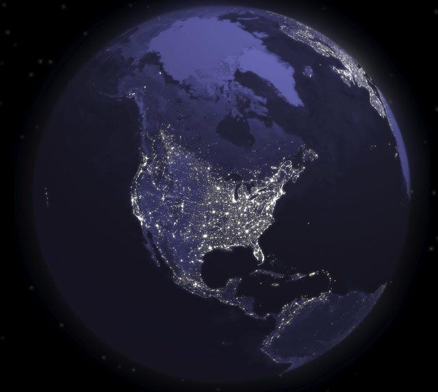 Earth From Space At Night United States View Earth From Space Earth At Night Earth