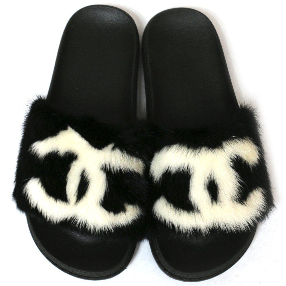 6c934b9ebe663 Black Custom Mink Designer Inspired Slides   She Wavy   Shoes   Fur ...