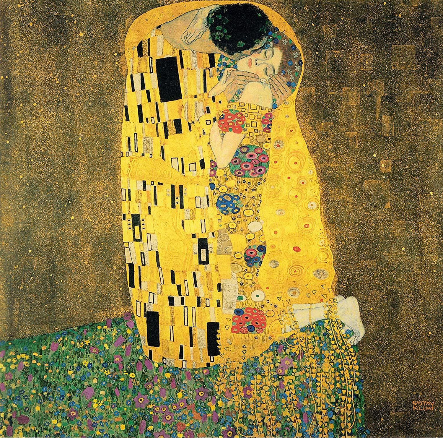 Gustav Klimt Painting The Kiss Rolled Canvas Print Wall Etsy Klimt Paintings Watercolor Canvas Wall Art Klimt